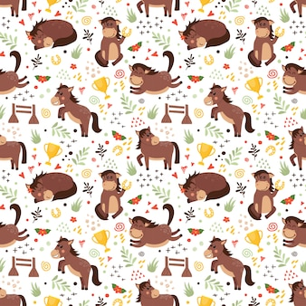 Vector seamless pattern with horses