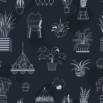 집 화분에 심는 식물으로 벡터 완벽 한 패턴입니다.