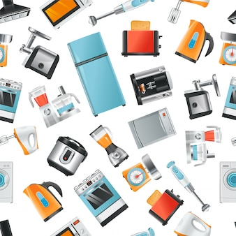 Vector seamless pattern with household appliances