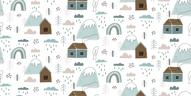 Vector seamless pattern with houses, mountains, trees, clouds, rain, and rainbow.