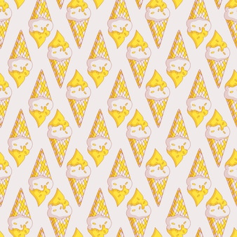Vector seamless pattern with ice cream.