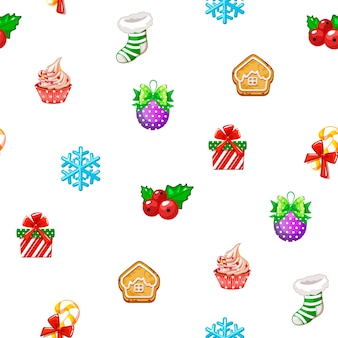 Vector seamless pattern with icons of happy new year and christmas day on white background