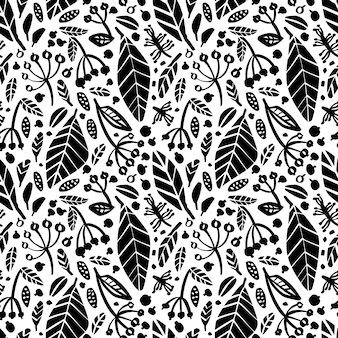 Vector seamless pattern with ink drawing herbs, leaves and berries.