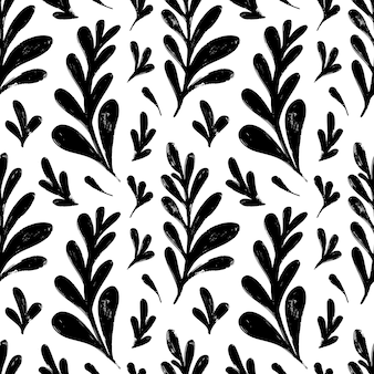 Vector seamless pattern with ink drawing herbs.