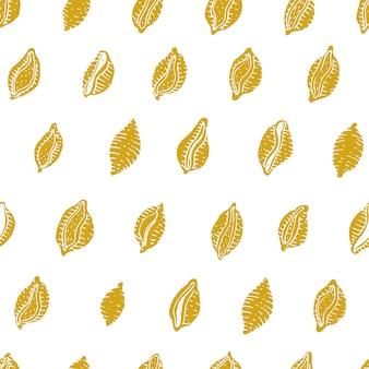イタリアのパスタとのシームレスなパターンベクトル。 conchiglie手描きの背景。メニュー、ラベル、包装に使用できます。