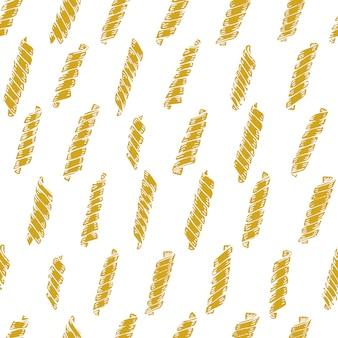 イタリアのパスタとのシームレスなパターンベクトル。フジッリ手描きの背景。メニュー、ラベル、包装に使用できます。