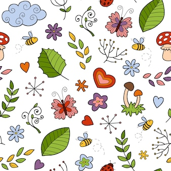 Vector seamless pattern with items of nature on white background
