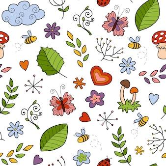 흰색 바탕에 자연의 항목과 벡터 원활한 패턴