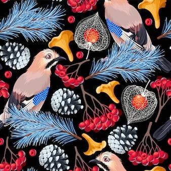 ジェイ鳥と森の花とのベクトルのシームレスなパターン