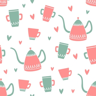 Vector seamless pattern with kettle, coffee pot and mug.