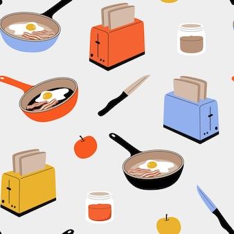 Бесшовный узор вектор с кухонными принадлежностями: тостер с кусочками хлеба, яблоко, банку с вареньем, нож, сковороду с яйцами и беконом. концепция завтрака. плоская иллюстрация шаржа