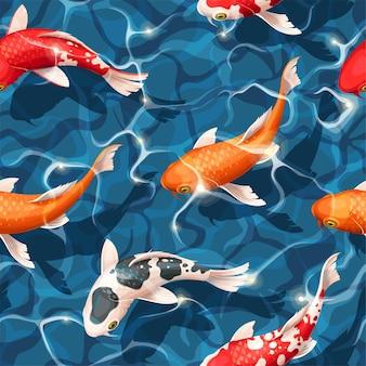 Бесшовный узор вектор с рыбой кои под водой