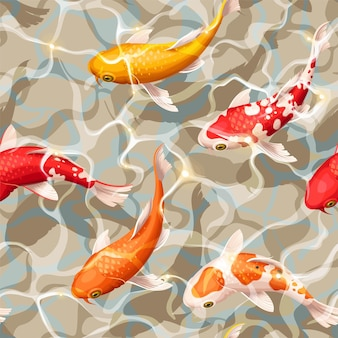 Vector seamless pattern with koi fish under a water