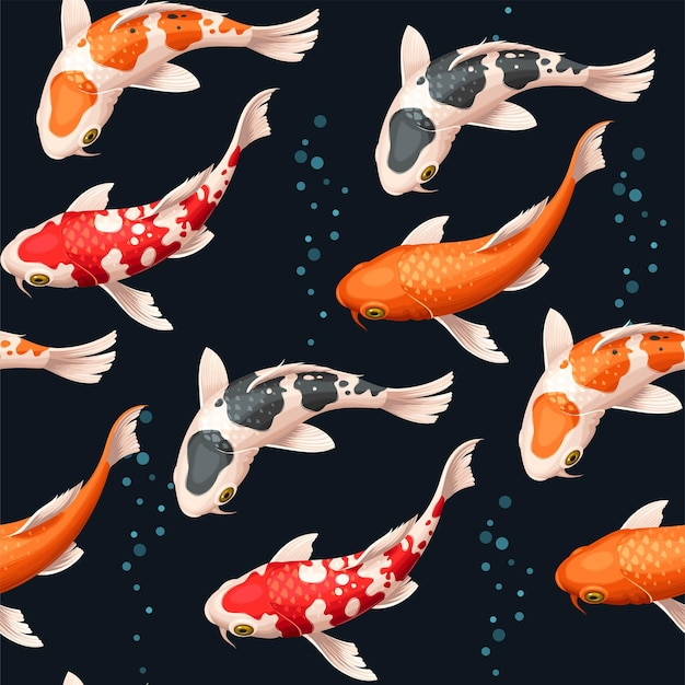 Vector seamless pattern with koi fish