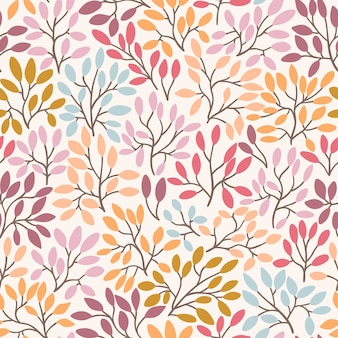 Vector seamless pattern with leaves and twigs