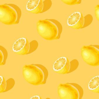 노란색 배경에 레몬 조각과 전체가 있는 벡터 원활한 패턴