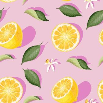 레몬 조각 꽃과 잎 벡터 원활한 패턴