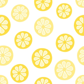 Vector seamless pattern with lemons. cartoon style