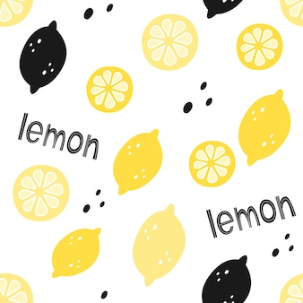 Vector seamless pattern with lemons and lettering. cartoon style