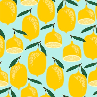 Vector seamless pattern with lemons