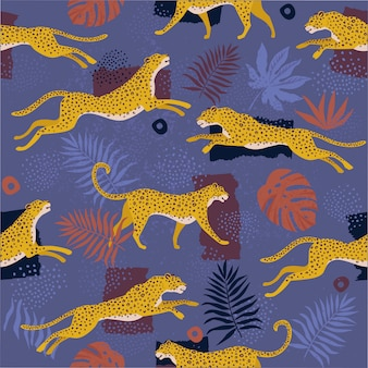 Vector seamless pattern with leopards and tropical leaves.