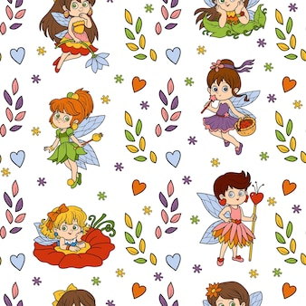 Vector seamless pattern with little fairies on white background