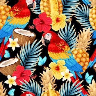 コンゴウインコと熱帯の果物や花とシームレスなパターンをベクトルします。