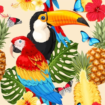 Vector seamless pattern with macaw and toucan