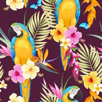 コンゴウインコと熱帯の花とのベクトルのシームレスなパターン