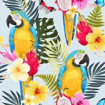 Vector seamless pattern with macaws and tropical flowers