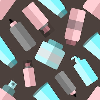 Vector seamless pattern with make up bottles