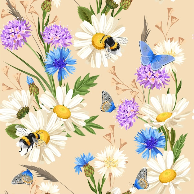 Vector seamless pattern with meadow flowers and insects