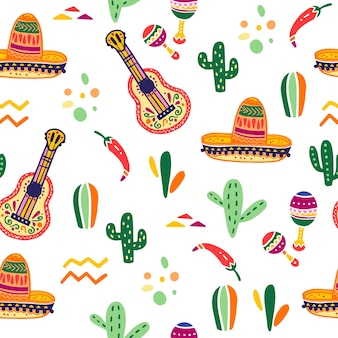 Vector seamless pattern with mexico traditional celebration decor elements  guitar sombrero maracas paprika cactus amp abstract ornaments isolated on white background good for packaging prints