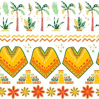 판초, 마야 피라미드, 야자수, 덤불, 꽃, 잎, 흰색 배경에 분리된 추상 장식 등 멕시코 전통 장식 요소와 벡터 매끄러운 패턴입니다. 포장 디자인, 인쇄, 웹에 적합