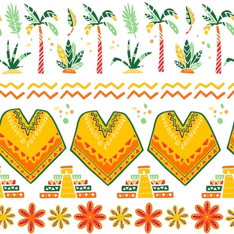 Vector seamless pattern with mexico traditional decor elements - poncho, maya pyramid, palm, bush, flowers, leaf, abstract ornament isolated on white background. good for packaging design, prints, web