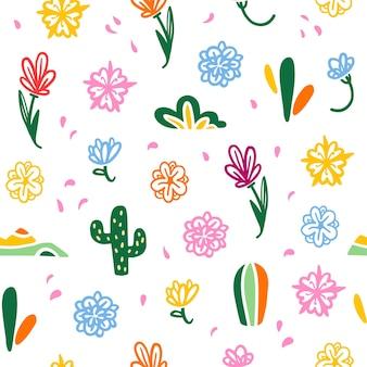 멕시코 전통 장식 요소가 있는 벡터 매끄러운 패턴 - 화려한 꽃, 꽃잎, 흰색 배경에 분리된 선인장이 있습니다. 포장 디자인, 인쇄, 장식, 웹 등에 적합합니다.
