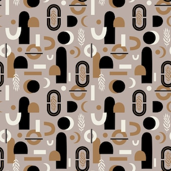 Vector seamless pattern with modern arch abstract shapes and form bohemian aesthetic abstract
