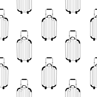 Vector seamless pattern with a modern suitcase wheelie pattern in doodle style