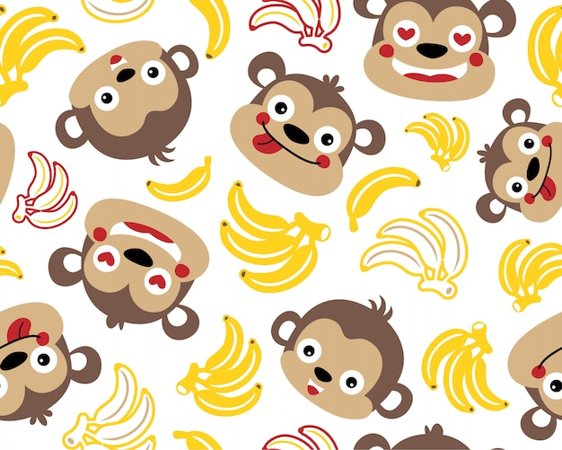 Vector seamless pattern with monkeys and bananas