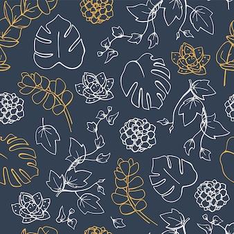 Monstera 종 려 잎 및 다육 식물 원활한 패턴 벡터