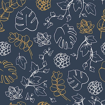 Vector seamless pattern with monstera palm leaves and succulents