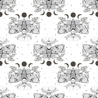Vector seamless pattern with moth butterfly.