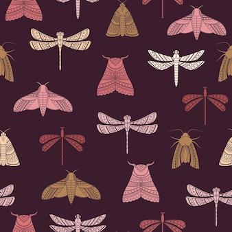 蛾やトンボとのシームレスなパターンをベクトルします。自由奔放に生きるスタイルの背景。