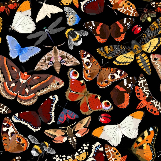 Vector seamless pattern with moths and butterflies