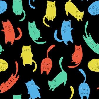 검은 배경에 여러 가지 빛깔된 만화 고양이와 벡터 원활한 패턴