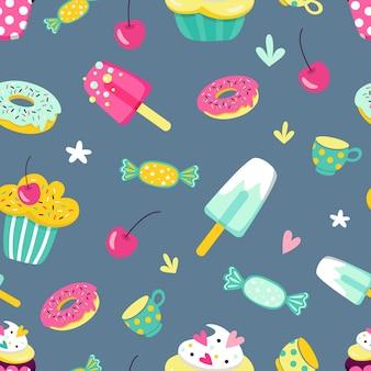 만화 스타일의 여러 가지 빛깔의 과자 컵 케이크와 아이스크림 벡터 원활한 패턴
