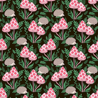 Vector seamless pattern with mushrooms grebes and hedgehog on a dark background