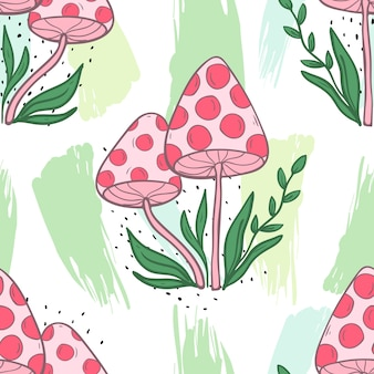 Vector seamless pattern with mushrooms on a white background