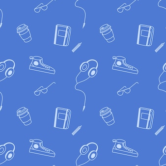 Vector seamless pattern with notepad and pencil sneakers headphones glasses in doodle style