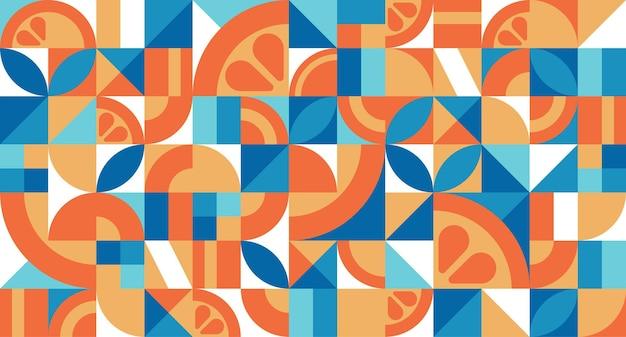 バウハウススタイルのオレンジとシームレスなパターンをベクトルするシンプルな繰り返し形状の抽象的な幾何学的なテクスチャモザイクレトロな壁紙カラフルなミニマルな背景